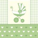 Grüne Gruß-Karte mit Stroller6-01 Stockfoto
