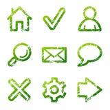 Grüne grunge Web-Ikonen Lizenzfreie Stockfotografie