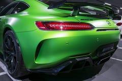 Grüne GTR V8 Bi-Turbo Äußerdetails 2018 Mercedes-Benzs AMG Rückseitige Ansicht Autoäußerdetails Stockfotos