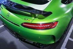 Grüne GTR V8 Bi-Turbo Äußerdetails 2018 Mercedes-Benzs AMG Rückseitige Ansicht Autoäußerdetails Stockfoto
