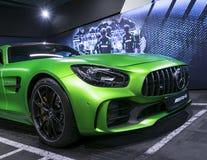 Grüne GTR 2018 V8 Bi-Turbo Außendetails Mercedes-Benzs AMG, Scheinwerfer Front View Autoäußerdetails Stockfotografie