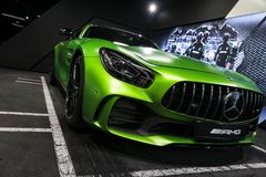 Grüne GTR 2018 V8 Biturbo Außendetails Mercedes-Benzs AMG, Scheinwerfer Front View Autoäußerdetails Stockbild
