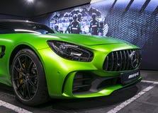 Grüne GTR 2018 V8 Biturbo Außendetails Mercedes-Benzs AMG, Scheinwerfer Front View Autoäußeres Lizenzfreie Stockfotografie