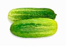 Grüne Gurken auf weißem Hintergrund Stockfotografie
