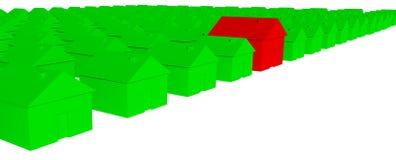grüne Häuser 3D mit einem roten Haus stock abbildung