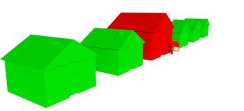 grüne Häuser 3D mit einem roten Haus mit Zeichen lizenzfreie abbildung
