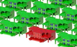 Grüne Häuser um das rote Landhaus vektor abbildung