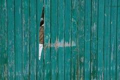 Grüne hölzerne Beschaffenheit von einem Zaun und von einem defekten Brett Lizenzfreie Stockbilder
