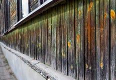 Grüne hölzerne Wand in der Perspektive Stockfotos