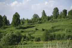 Grüne Hügel des Morgens unter bewölktem Himmel Drastische Szene Lizenzfreie Stockfotografie