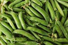Grüne Hülsen mit Erbsen als Hintergrund Lizenzfreie Stockfotos