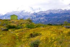 Grüne Hütte auf dem Gebiet, Patagonia Lizenzfreies Stockfoto