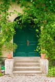 Grüne Haustür Lizenzfreie Stockfotos