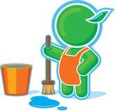 Grüne Held-Reinigung mit Wanne Wasser Stockfotografie