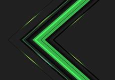 Grüne helle Pfeilrichtung der Zusammenfassung auf modernen futuristischen Hintergrundvektor des dunkelgrauen Entwurfs lizenzfreie abbildung