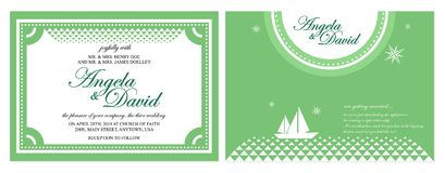 Grüne Hochzeitskarte Stockbild