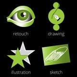 Grüne Ikonen der Druckereiservices eingestellt Teil 4 Lizenzfreies Stockbild