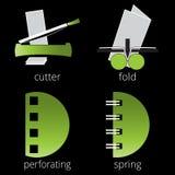 Grüne Ikonen der Druckereiservices eingestellt Teil 7 Stockbilder
