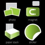 Grüne Ikonen der Druckereiservices eingestellt Teil 5 Stockbilder