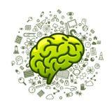 Grüne Ikonen des Gehirns auf einem weißen Hintergrund Stockfotografie