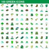 100 grüne Ikonen eingestellt, Karikaturart stock abbildung