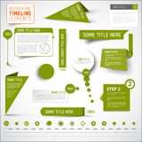 Grüne infographic Zeitachseelemente/Schablone Stockfoto