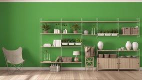 Grüne Innenarchitektur Eco mit hölzernem Bücherregal, diy Vertikale GA stockbilder