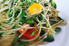 Grüne junge Sonnenblume keimt im Olivenölsalat Stockbild