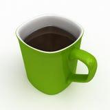 Grüne Kaffeetasse voll Kaffee Stockfotografie