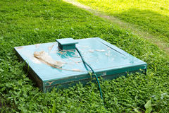 Grüne Kappe des autonomen Abwassers im Gras Stockfotos