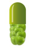 Grüne Kapsel mit Äpfeln lizenzfreie stockbilder
