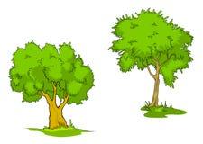 Grüne Karikaturbäume Lizenzfreies Stockfoto
