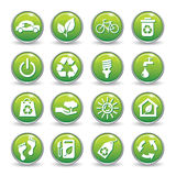 Grüne Knöpfe der Ökologienetz-Ikonen. Lizenzfreie Stockfotos