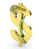 Grüne Kobra auf einem Golddollarzeichen Stockbild