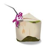 Grüne Kokosnüsse mit Trinkhalm und Orchidee Stockfoto