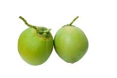 Grüne Kokosnüsse tragen getrennt auf Weiß mit clippi Früchte Stockfotografie