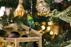 Grüne Kolibriverzierung, die im Weihnachtsbaum hängt Lizenzfreies Stockfoto