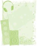 Grüne Kopfhörer/Lautsprecher-Hintergrund Lizenzfreie Stockbilder