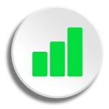 Grüne Kurve im runden weißen Knopf mit Schatten vektor abbildung
