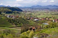 Grüne Landschaft der Zagorje Region Stockfotografie