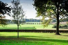 Grüne Landschaft mit Bäumen und Hecke, Margraten, Limburg, die Niederlande lizenzfreie stockfotografie