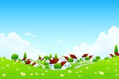 Grüne Landschaft mit Dorf lizenzfreie abbildung