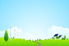 Grüne Landschaft mit Haus Lizenzfreies Stockbild
