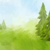 Grüne Landschaft mit Himmel und Tannenbäumen Stockbilder