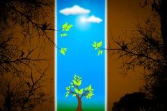 Grüne Lebensdauer gegen Verschmutzung. Lizenzfreies Stockbild