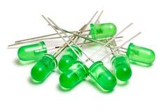 Grüne LED-Dioden auf einem weißen Hintergrund Stockbild