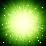 Grüne Leuchte des Scheins barst mit Sternen Stockfoto