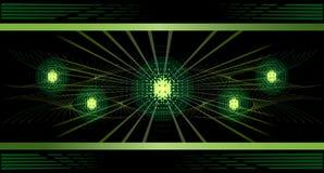 Grüne Leuchten und Strahlhintergrund. Stockfoto