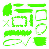 Grüne Leuchtmarker-Elemente Lizenzfreie Stockfotos