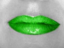 Grüne Lippen lizenzfreies stockbild